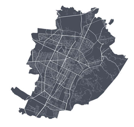 Turin map. Detailed vector map of Turin city administrative area. Dark poster with streets on white background. Vector Illustration