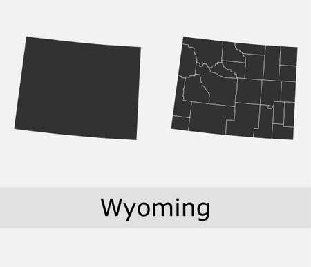 Wyoming maps vector outline counties, townships, regions, municipalities, departments, borders
