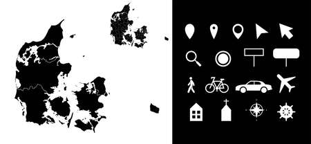 Map of Denmark administrative regions departments with icons. Map location pin, arrow, looking glass, signboard, man, bicycle, car, airplane, house. Royalty free outline danish vector map.