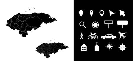 Map of Honduras administrative regions departments with icons. Map location pin, arrow, looking glass, signboard, man, bicycle, car, airplane, house. Royalty free outline Hondurans vector map.
