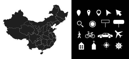 Map of China administrative regions departments with icons. Map location pin, arrow, looking glass, signboard, man, bicycle, car, airplane, house. Royalty free outline Chinese vector map.  イラスト・ベクター素材
