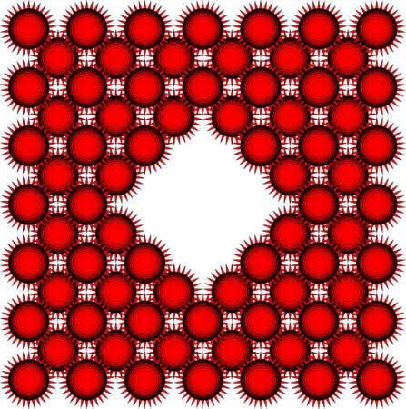 Square card with red and black suns. Weird and scary suns, geometric pattern. 向量圖像