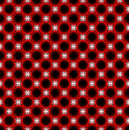 Background image with red black sun tile. Seamless pattern, scalable, multiply. Flat geometric suns, strange and weird..