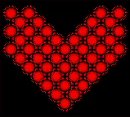 Weird and scary heart made of red and black suns. Flat pattern, geometric suns. . Vector Illustration