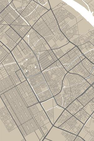 Detailed map of Basra city administrative area. Royalty free vector illustration. Cityscape panorama. Decorative graphic tourist map of Basra territory. Vektoros illusztráció