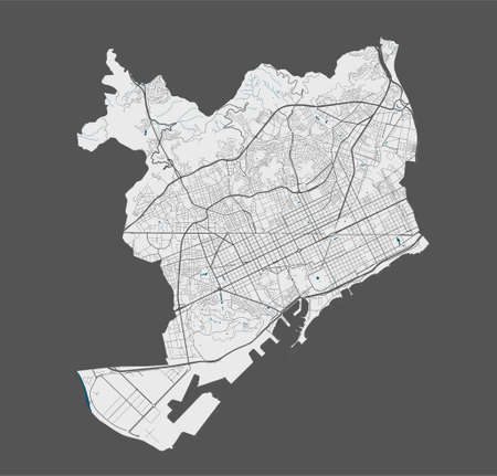 Barcelona map. Detailed vector map of Barcelona city administrative area. Poster with streets and water on grey background.