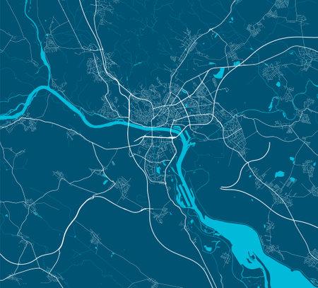 Vector map of Bratislava. Street map poster illustration. Bratislava map art.