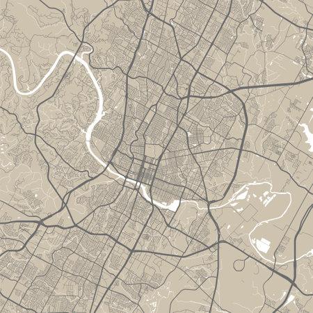 Vector map of Austin. Street map poster illustration. Austin map art.