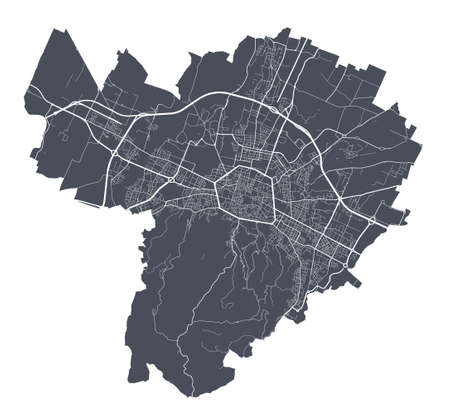 Bologna map. Detailed vector map of Bologna city administrative area. Dark poster with streets on white background.