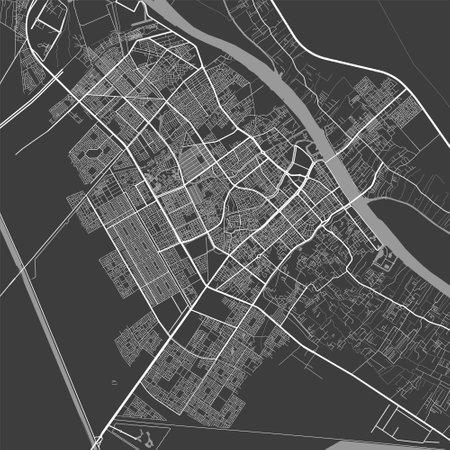 Urban city map of Basra. Vector illustration, Basra map grayscale art poster. Street map image with roads, metropolitan city area view. Vektoros illusztráció