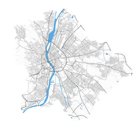 Budapest map. Detailed vector map of Budapest city administrative area. Poster with streets and water on white background.
