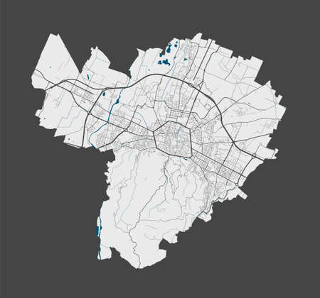 Bologna map. Detailed vector map of Bologna city administrative area. Poster with streets and water on grey background.