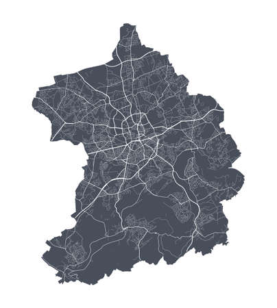 Essen map. Detailed vector map of Essen city administrative area. Cityscape poster metropolitan aria view. Dark land with white streets, roads and avenues. White background.