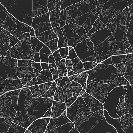 Urban city map of Essen. Vector illustration, Essen map art poster. Street map image with roads, metropolitan city area view.