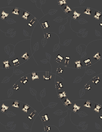 nocturnal: Owl Print Series (Seamless Pattern). Illustration