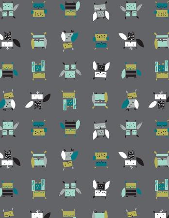 Owl Print serie (naadloze patroon). Stock Illustratie