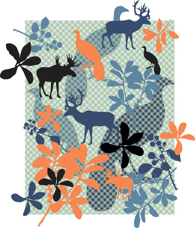 big moose: Nature Elements with seamless pattern on background.