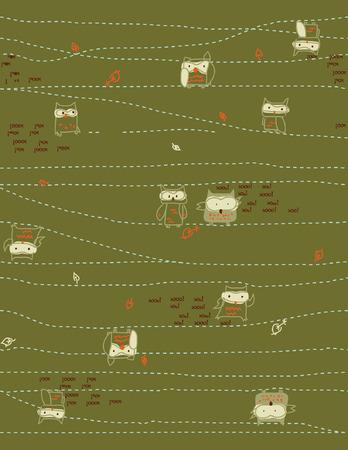 night: Owl Print Series (Seamless Pattern). Illustration