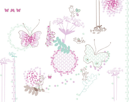Design elements. Birds, butterfly and pattern. Custom brush included. Vettoriali