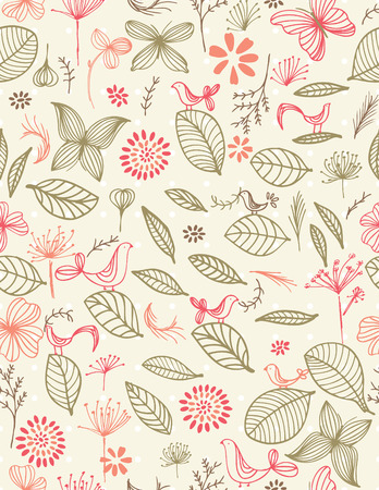 Retro Botanical Garden (seamless pattern)