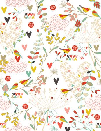 Flowers and Hearts in a Spring Kimono (seamless pattern) Vektorové ilustrace