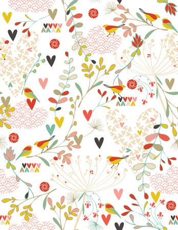 Flowers and Hearts in a Spring Kimono (seamless pattern) Vector