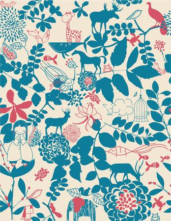 Naadloze: Retro grillige floraal naadloze patroon met kinderen grafische Stock Illustratie