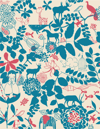 Retro whimsical floral seamless pattern with children's graphics Ilustração