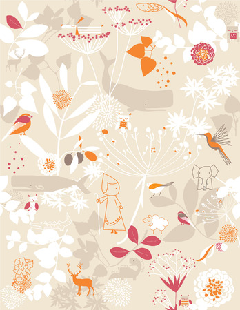 Retro whimsical floral seamless pattern with children's graphics Stock Vector - 3257066