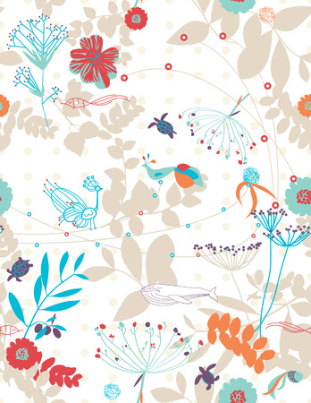 Naadloze: Retro floral naadloze grillig patroon met afbeeldingen van kinderen