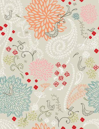 花と鳥 (シームレスなパターン)