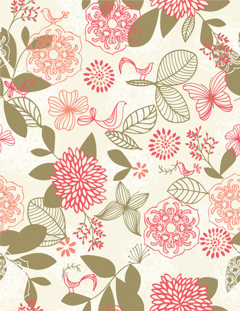 retro: Retro botanical garden seamless pattern