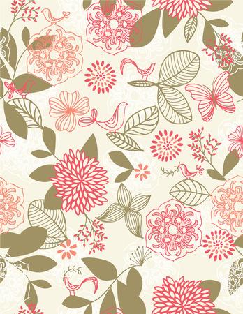 Naadloze: Retro botanische tuin naadloze patroon Stock Illustratie