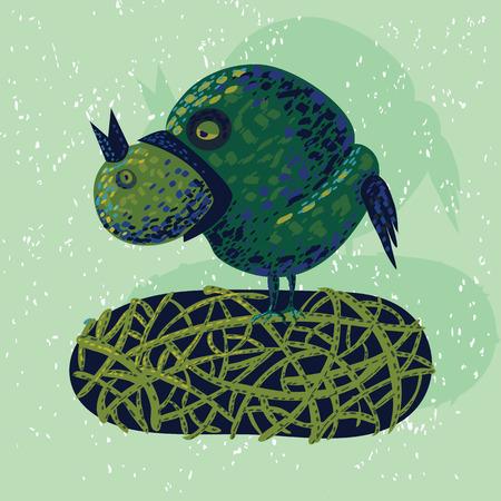 skyblue: illustration with a cartoon bird eating a bird