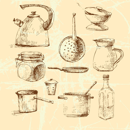 cookware: graphic illustration with cookware set