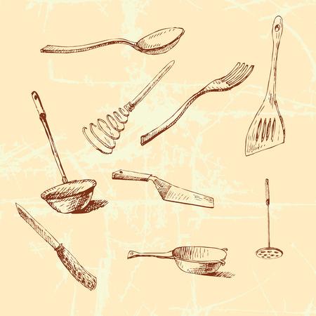 cookware: Vector gr�fico ilustraci�n con juego de ollas para su dise�o.