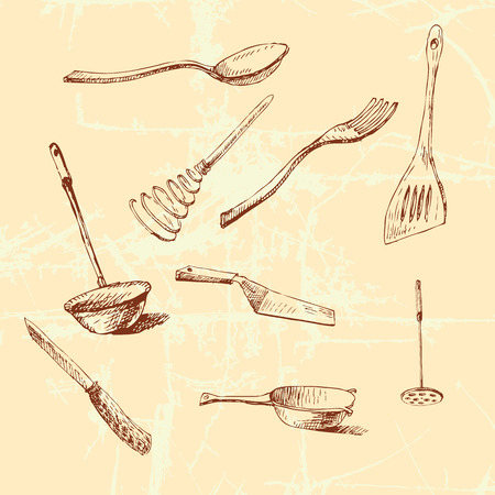 masher: Vector graphic illustration with cookware set for your design.
