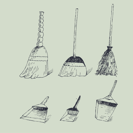dusting: Vector hand drawn illustration with brooms and dustpans Illustration