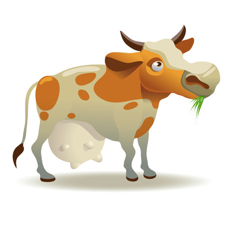 milker: Vector iIlustration with cow for your design