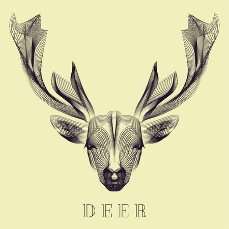 animales del bosque: Hipster estilizar ciervos vector. Animales minimalista para tarjetas de felicitaci�n, flyers, posters, banners