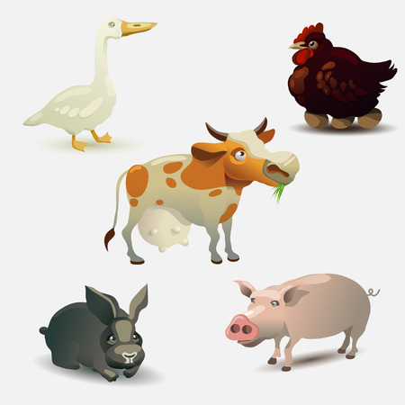 cow vector: Vector illustration set. Farm animals collection. Cow. Chicken. Goosse. Rabbit. Pig