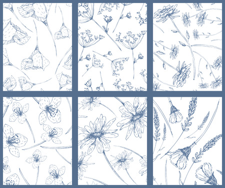 hand drawn flower: Set of seamless patterns with hand drawn flowers Illustration