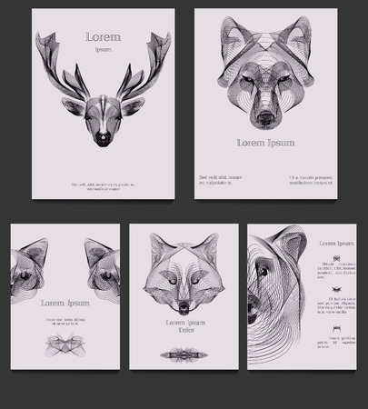 fox face: Hipster vector template set. Wild animals illustration for placards, posters, greeting cards, flyers and banner, web designs. Anniversary, holiday, wedding, business, birthday, party invitations.