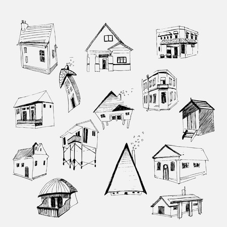 illustrate: Vector houses set. Hand Drawn. Made witn ink.