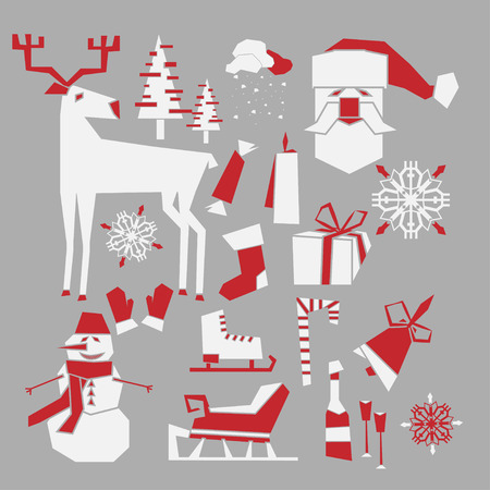 christmas theme: Vector winter icons set. New Year and Christmas theme. Illustration