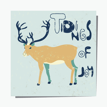 tidings: Vector template with deer. Textured  pattern for placards, brochures, posters, greeting cards. Winter greetings. Tidings of Joy