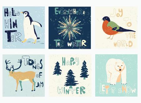 pinguino caricatura: establece la plantilla de vectores. los patrones de textura para carteles, folletos, carteles, tarjetas de felicitaci�n con saludos del invierno.