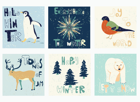 Vector template set. Textured  patterns for placards, brochures, posters, greeting cards with winter greetings.