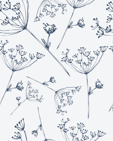 pencil plant: Seamless pattern with hand drawn flowers. Monochrome