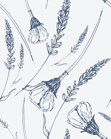 uncultivated: Seamless pattern with hand drawn flowers. Monochrome